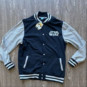 New with tag! Star Wars varsity style lightweight jacket. Gray/Black  Size XL